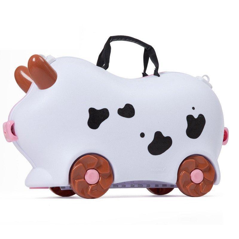 凯德氏 儿童旅行箱 儿童行李箱可爱卡通旅行箱可坐可骑 lxx16 奶牛