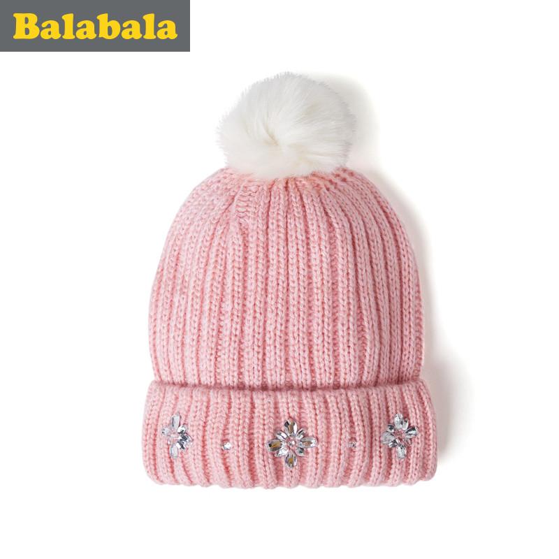 巴拉巴拉女童帽子儿童可爱时尚帽童帽2016冬季新款童装保暖帽子女