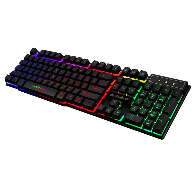 蝰蛇k4彩虹游戏背光发光机械手感键盘lol悬浮键盘有线