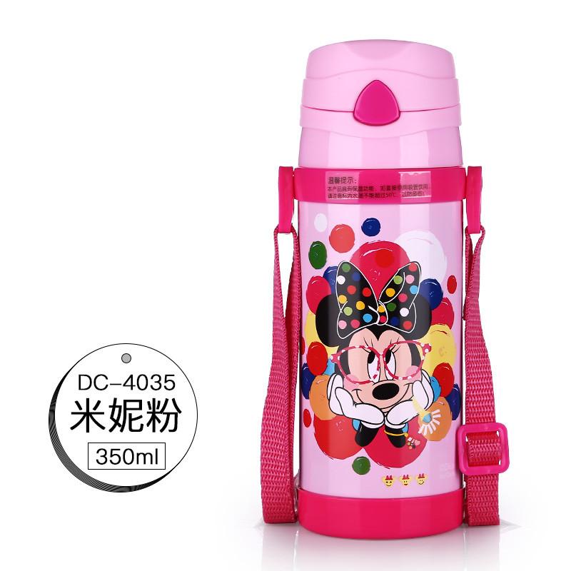 迪士尼 350ml 儿童水杯米奇保温杯背带吸管不锈钢水壶