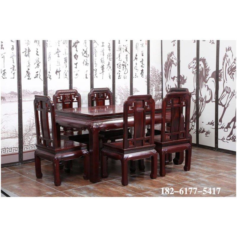 红木家具实木 长方桌国色天香餐桌
