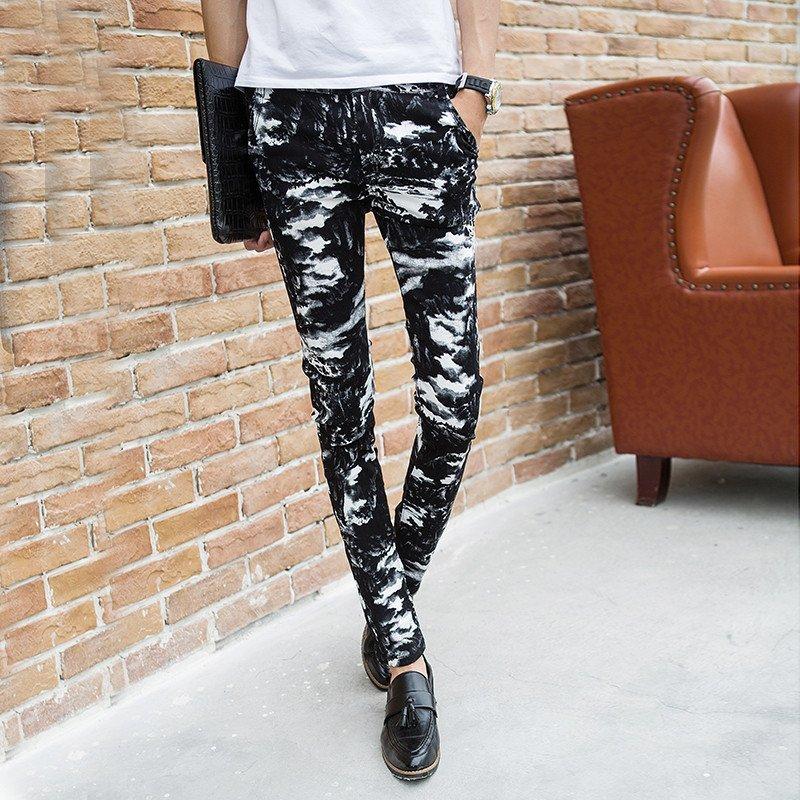 幸福时光新款潮流黑色迷彩图案男士修身小脚裤男裤子