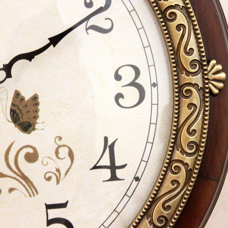 北极星大气黄铜钟表欧式实木双面挂钟静音客厅壁挂表