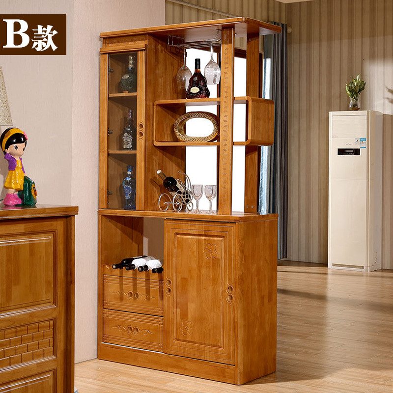 紫茉莉 简约现代实木玄关柜间厅柜客厅中式全橡胶木隔断柜双面酒架屏.
