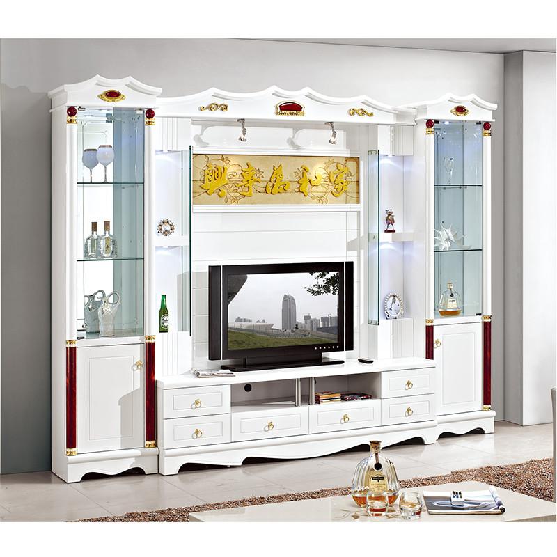 紫茉莉 欧式客厅电视墙柜 背景柜影视墙 酒柜地柜组合柜 影视柜一体柜