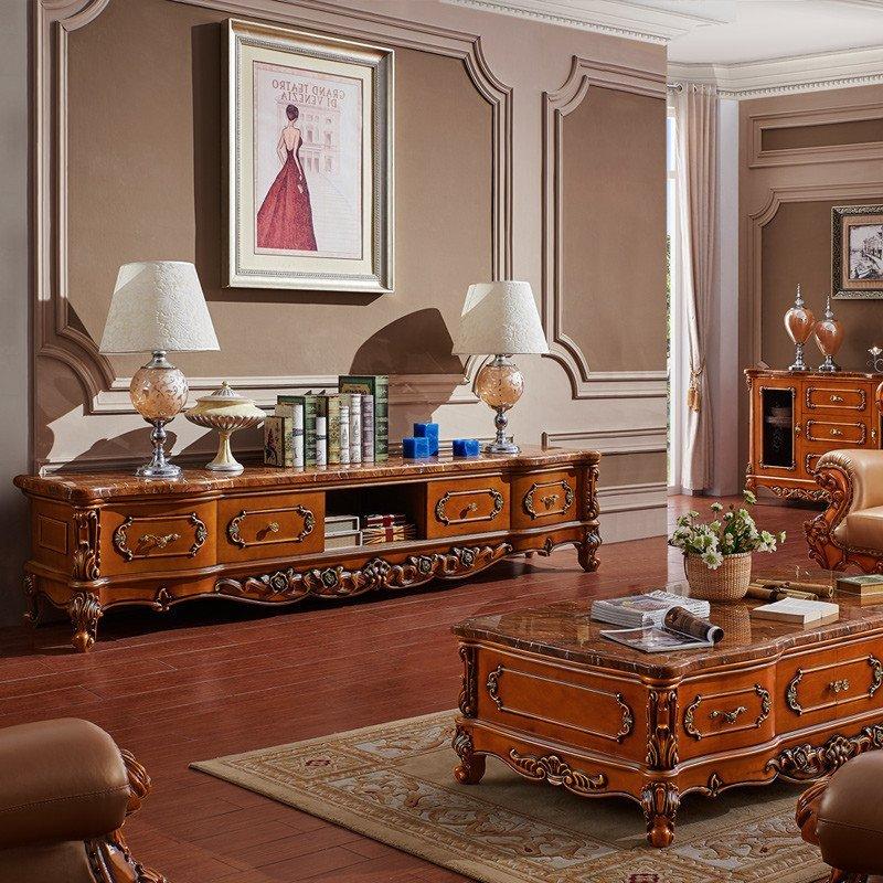 永旭美式家具彷古全实木电视柜 欧式大理石电视柜茶几图片