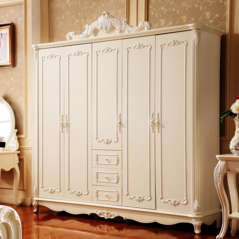 永旭家具 卧室欧式五门衣柜法式内置实木柜顶雕花象牙