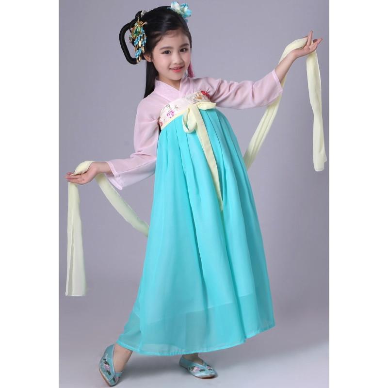 艾凝雪 古装服装 儿童襦裙仙女装女童汉服齐胸襦裙小孩春游服装改良