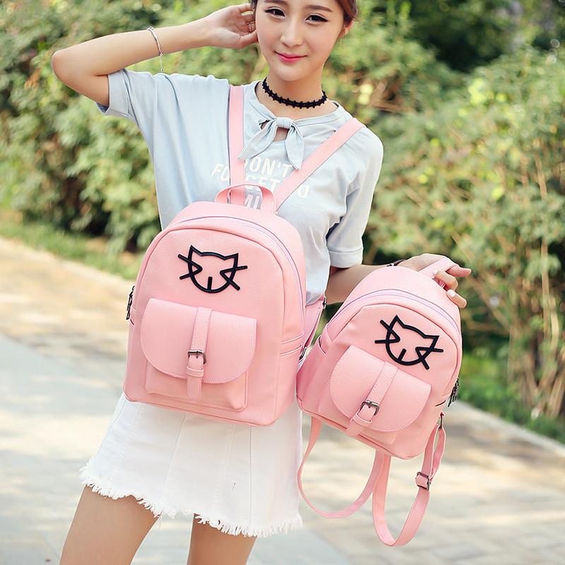 xblgx 可爱双肩包女韩版潮pu简约时尚书包中学生女士休闲百搭小旅行