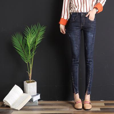 2020夏季新款女士牛仔褲女高腰時尚修身高彈力牛仔褲女士休閑褲長褲李維犀牛LEEVIRHINO