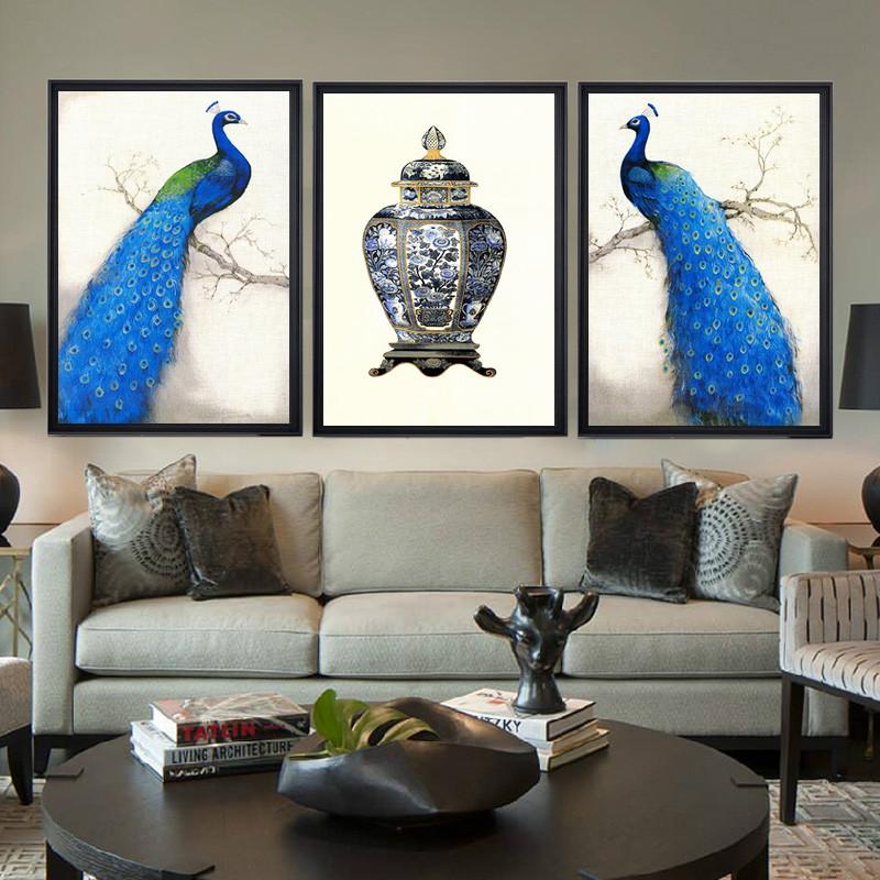装饰画现代欧式壁画沙发背景挂画 餐厅有框三联画蓝孔雀 孔雀三件套