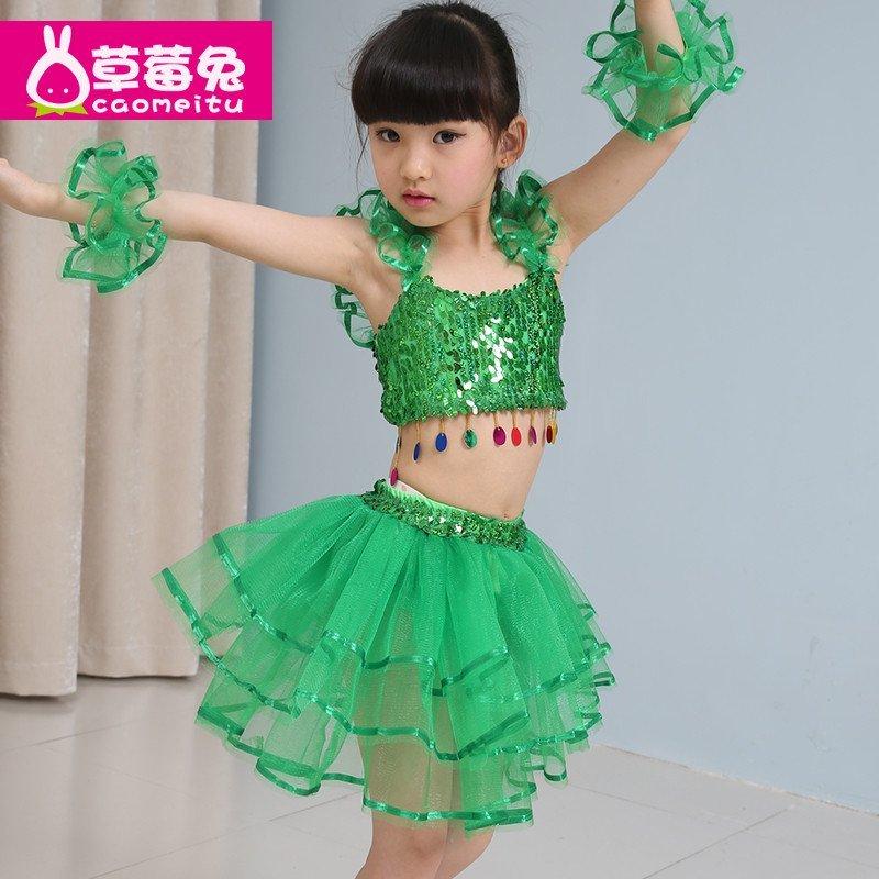 亮片儿童女童卡丁演出服幼儿舞蹈服装表演服夏天夏