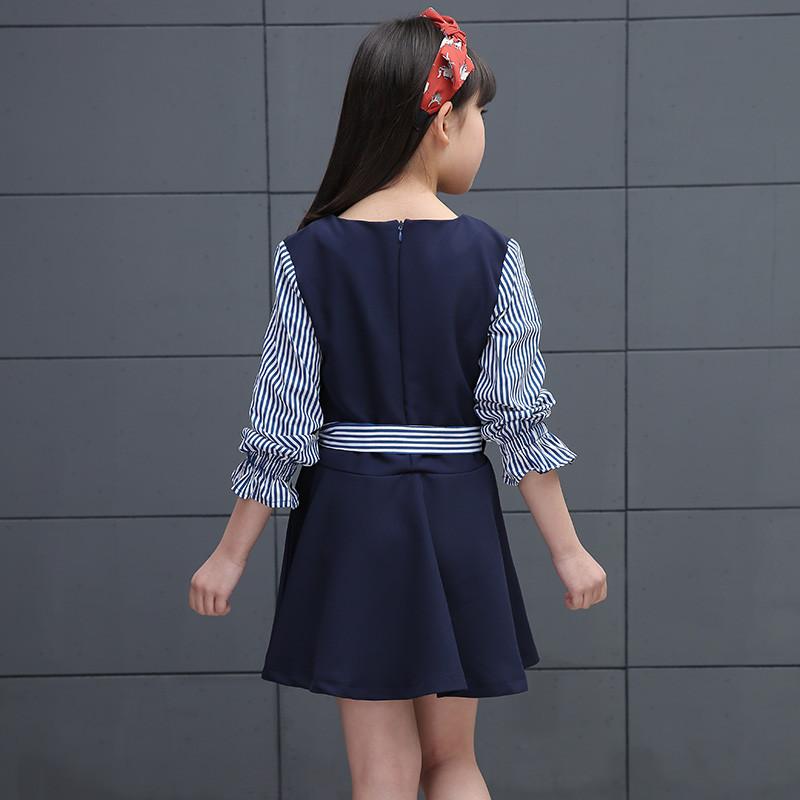 甜美猫 童装女童连衣裙儿童条纹长袖裙子4-13岁女童长袖公主裙中大童