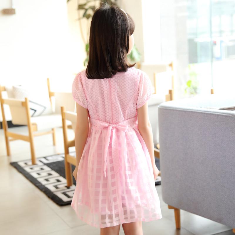 女孩娃娃领短袖公主裙2017童装夏装女童淑女裙子5-13岁儿童连衣裙
