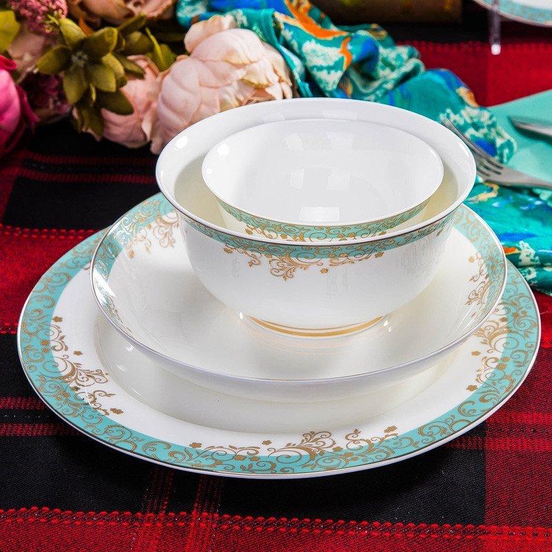 景德镇陶瓷餐具 陶瓷器碗盘餐具套装居家日用 餐具欧式饭碗碟蓝色多瑙图片