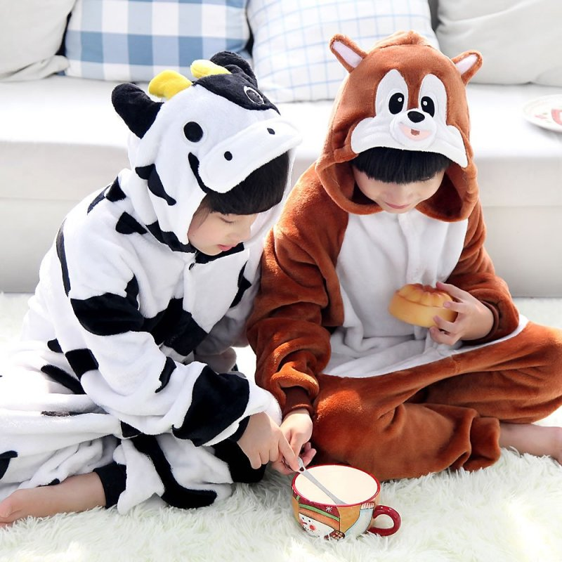 儿童宝宝秋冬动物奶牛松鼠卡通连体睡衣如厕家居睡衣