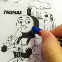 托马斯男女宝宝小孩儿童绘画本小火车填色图画书涂色涂鸦绘本图片