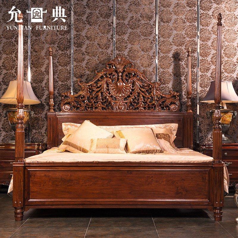 允典红木家具 花梨木达芬奇08卧房五件套 欧式古典 双人床大橱