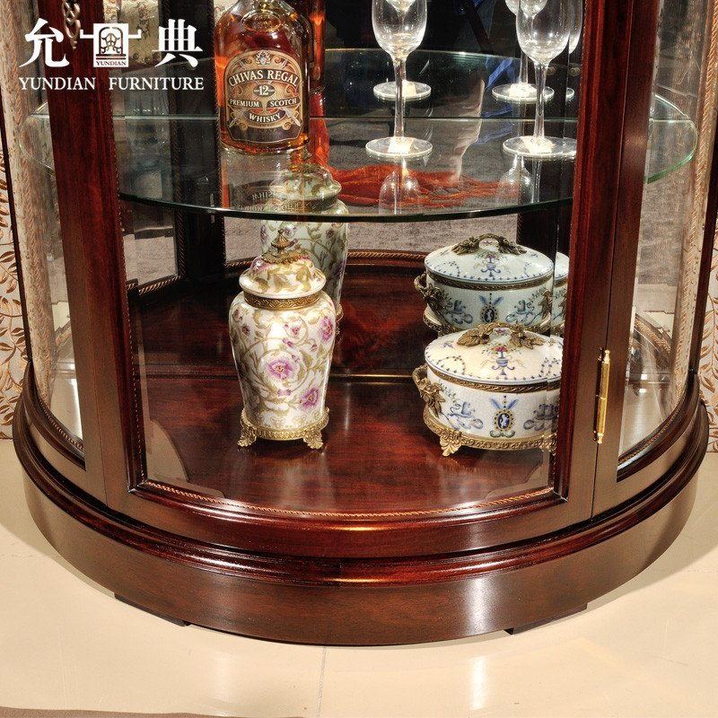 预售允典红木家具 花梨木欧式半圆酒柜 玻璃酒柜 客厅