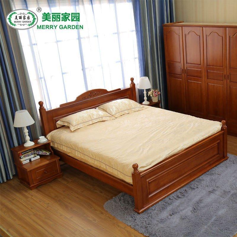 81.5米实木松木床婚床