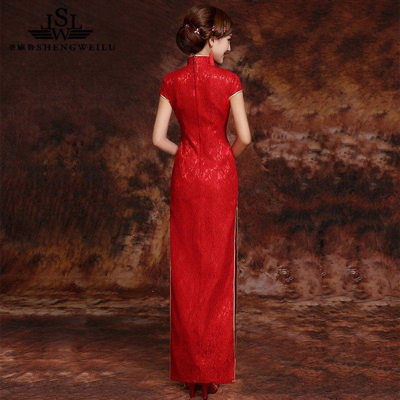 圣威鲁(shengweilu) 新娘结婚礼服敬酒服旗袍红色凤凰