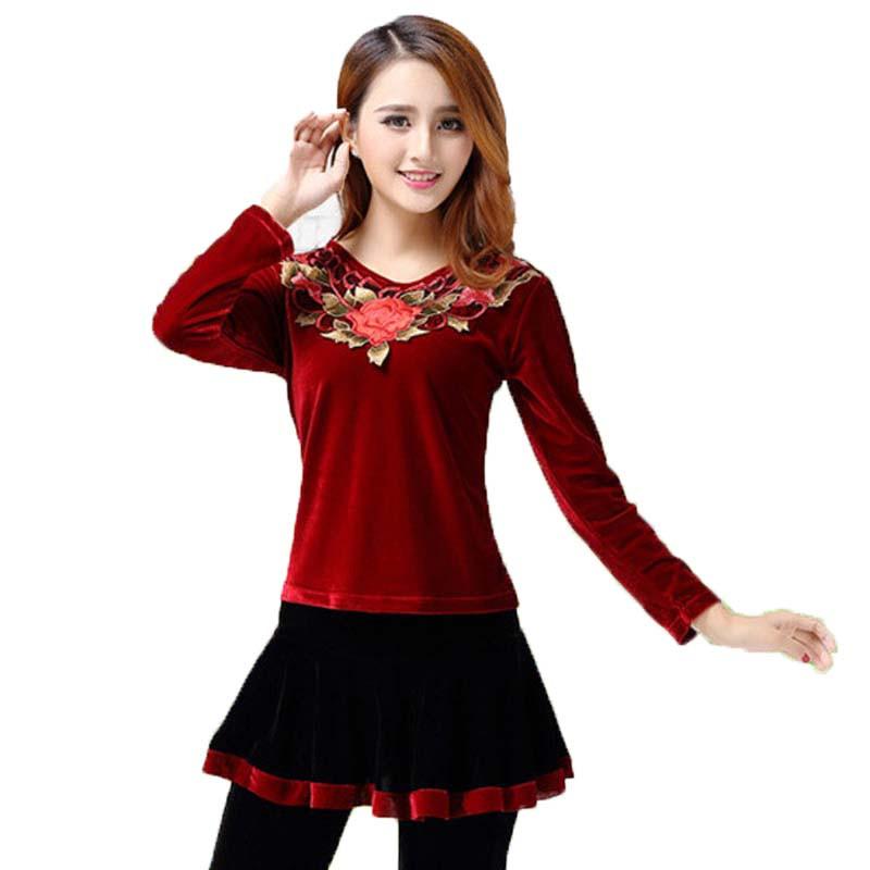 秋季广场舞服装金丝绒 绣花长袖民族风舞蹈套装
