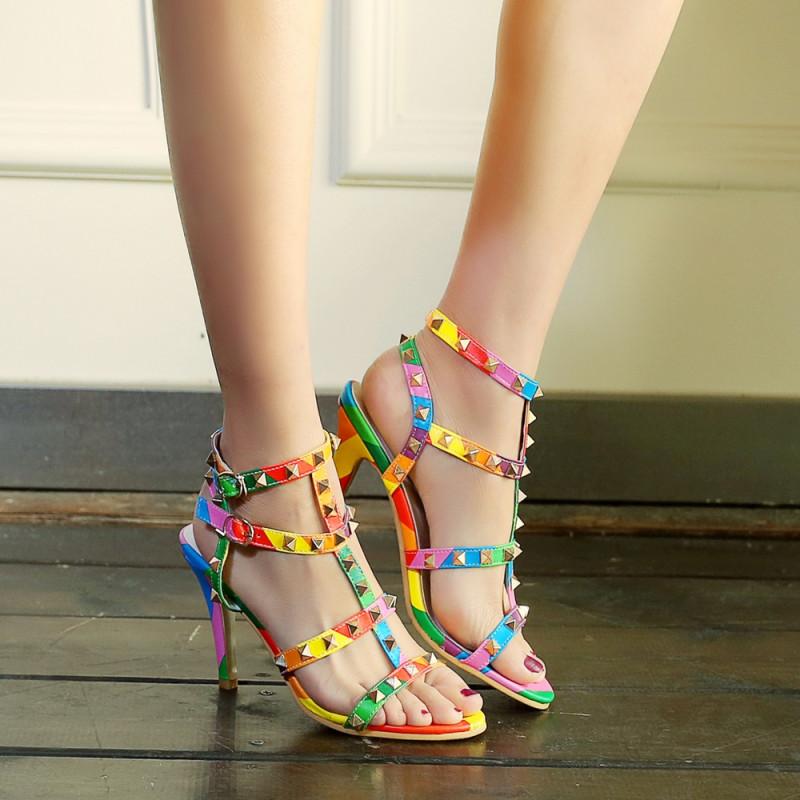 2016夏季脚环绑带时尚女士凉鞋高跟鞋百搭细跟性感女鞋 单鞋女韩版