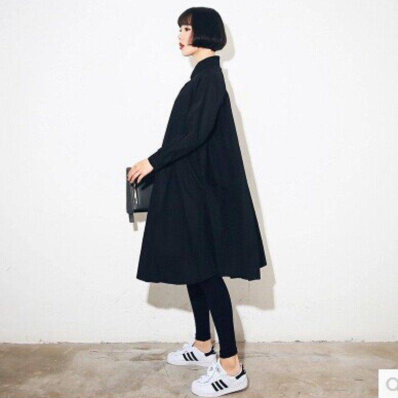 蔚缇2016夏季新款欧美风纯色翻领长袖衬衫裙连衣裙女春季新图片