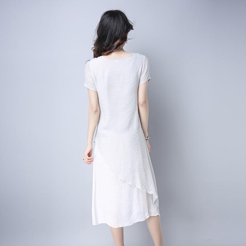 蔚缇文艺范女装复古棉麻手绘民国连衣裙
