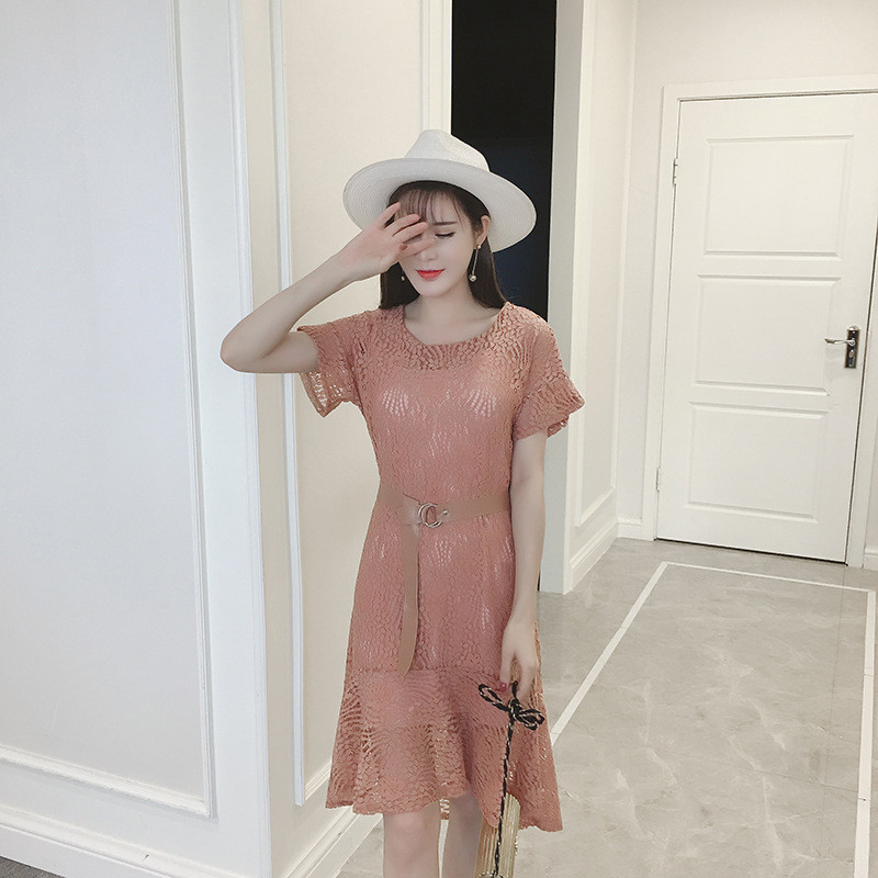 蕾丝a字裙包臀裙