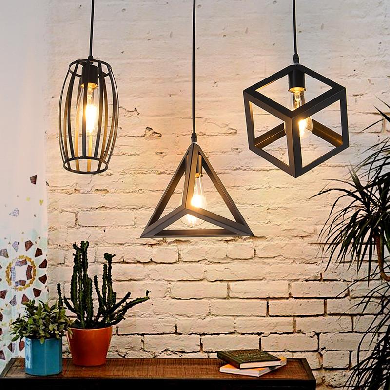 北欧复古简约创意个性吧台灯饰loft艺术卧室餐厅过道铁艺工业吊灯图片