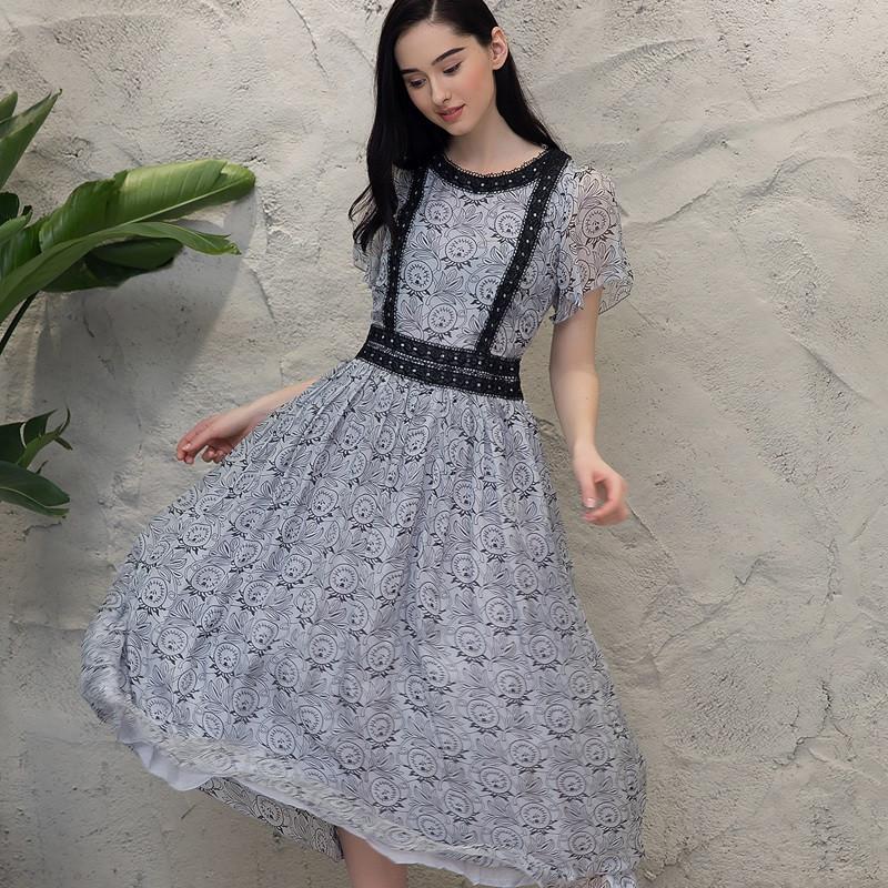 女士喇叭袖真丝连衣裙清新可爱中长款百褶裙韩版修身显瘦短袖裙子3