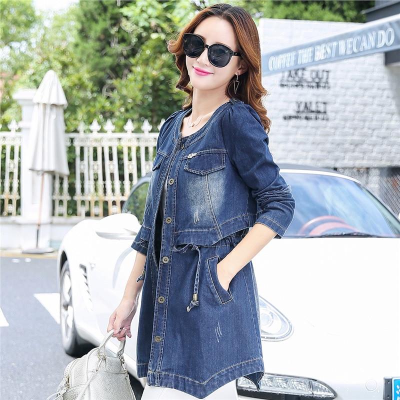 b2016秋冬新款女士中长款牛仔风衣女 文艺复古浅蓝色牛仔外套 韩版