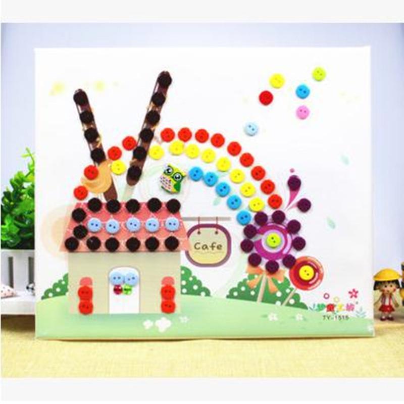 梦童工坊 木质相框 diy纽扣画 儿童手工制作 幼儿园扣子粘贴画玩具