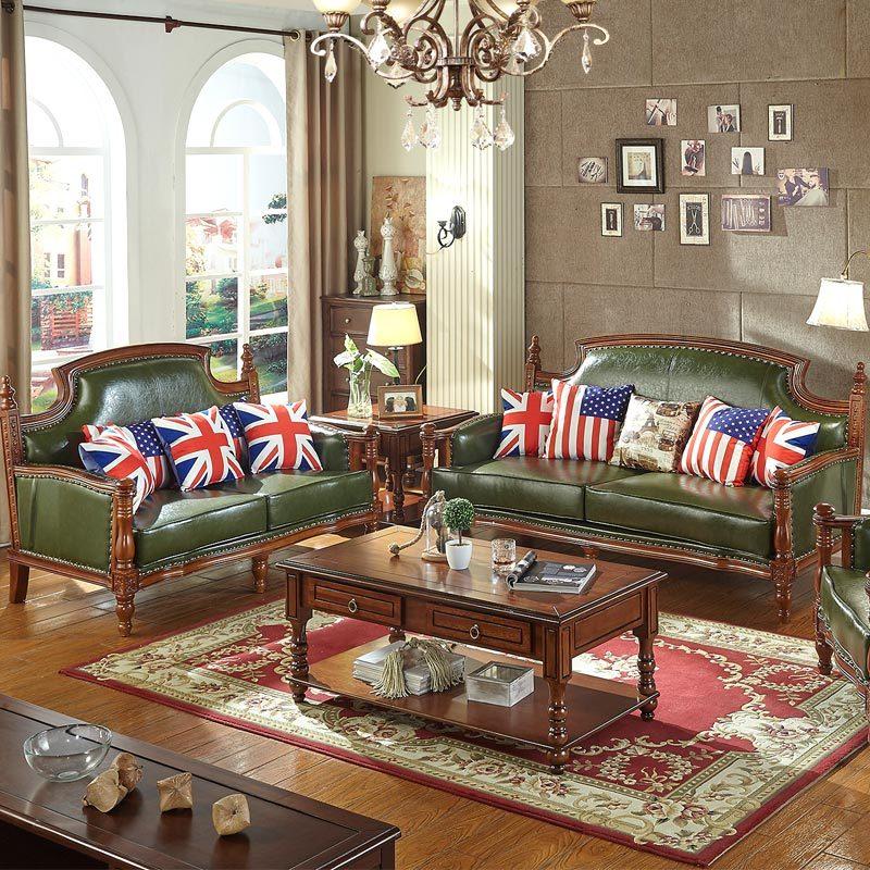 极  沙发 美式乡村实木沙发组合 客厅美式家具单人位沙发 欧式皮沙发图片