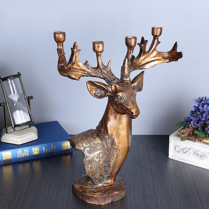 2016树脂鹿头烛台摆件 摆件客厅装饰品 家居摆件