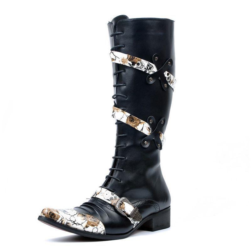 潮流时尚铆钉增高皮靴子朋克长靴马丁靴时尚酒吧演出潮靴非主流街舞鞋图片