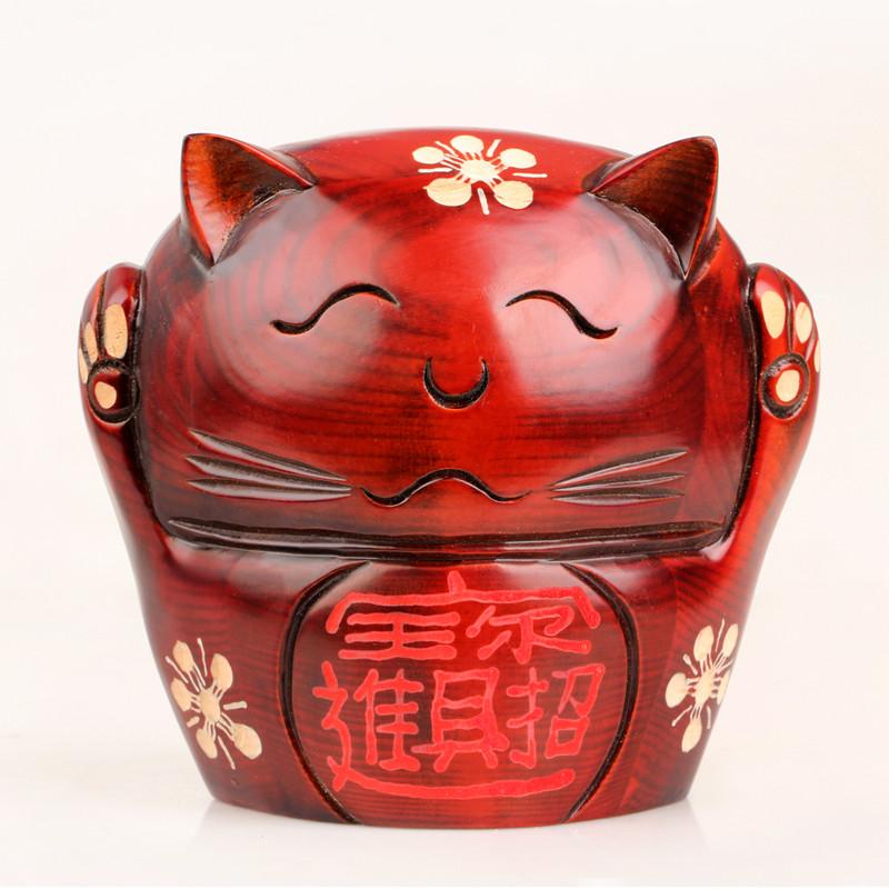 2016储蓄罐摆件木制发财猫 桃木可爱猫存钱罐开业送礼品