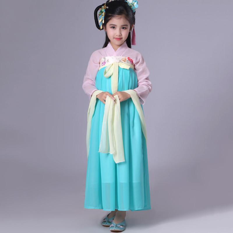 六一表演服儿童齐胸襦裙女童汉服改良小学生舞蹈演出服古装衣服