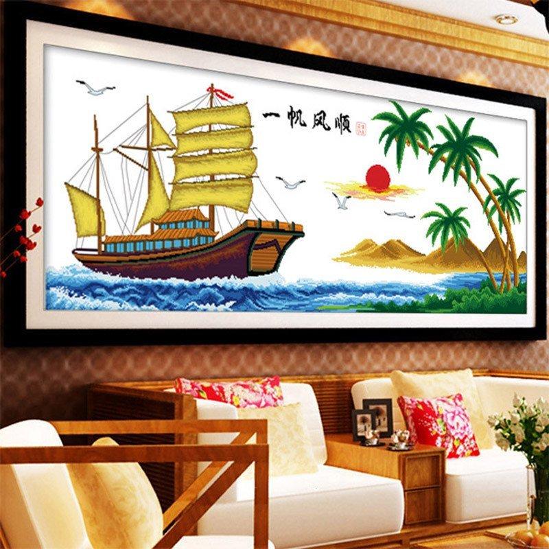 十字绣一帆风顺 简约现代船 印花十字绣刺绣挂画新款客厅大幅图案大全