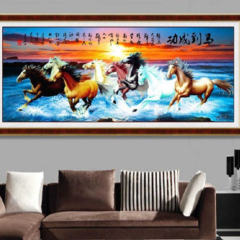 到成功八骏全图 八匹马十字绣八骏图大幅新款客厅2米满绣 图案大全