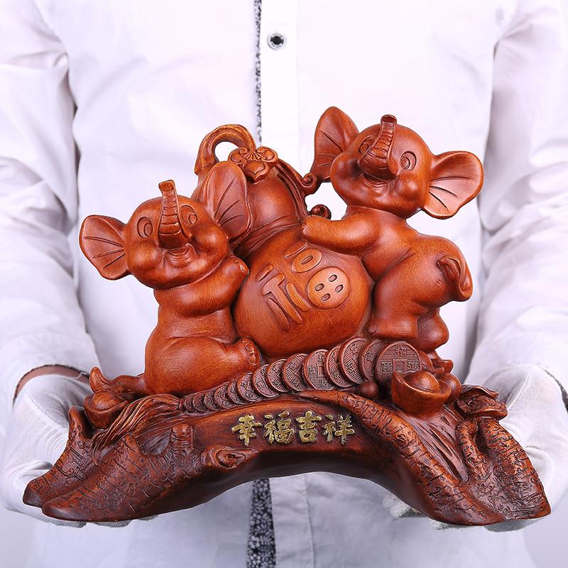 木雕工艺品葫芦 摆件家居装饰品创意 乔迁开业礼品福禄双全