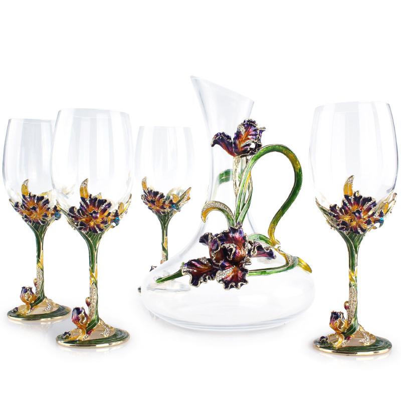 欧式时尚葡萄酒杯醒酒器 幸福鸢尾珐琅彩水晶酒具五件套装