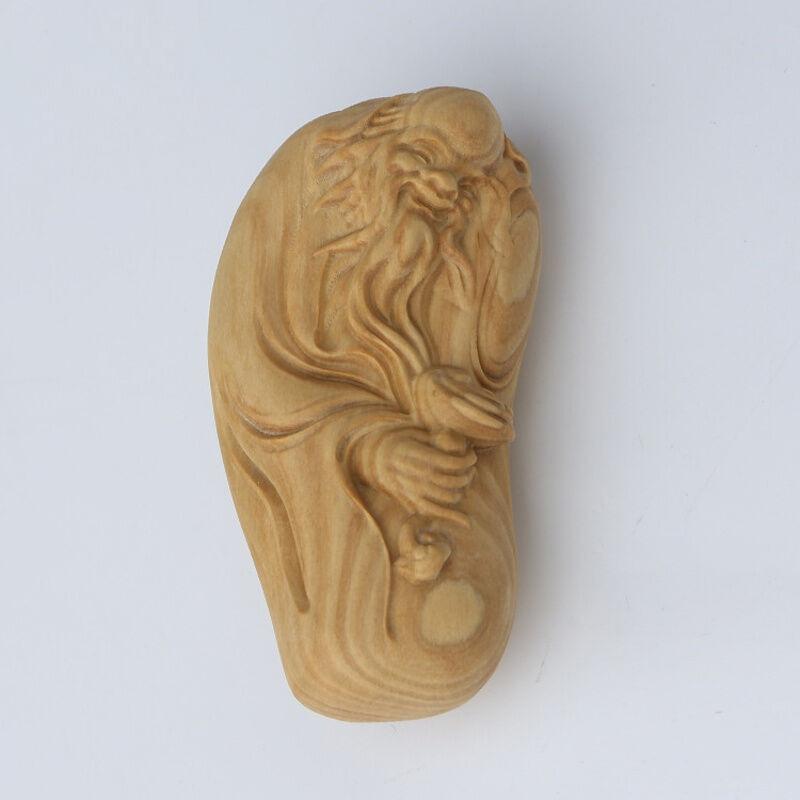 礼品木质工艺品 黄杨木雕寿星手把件把玩件