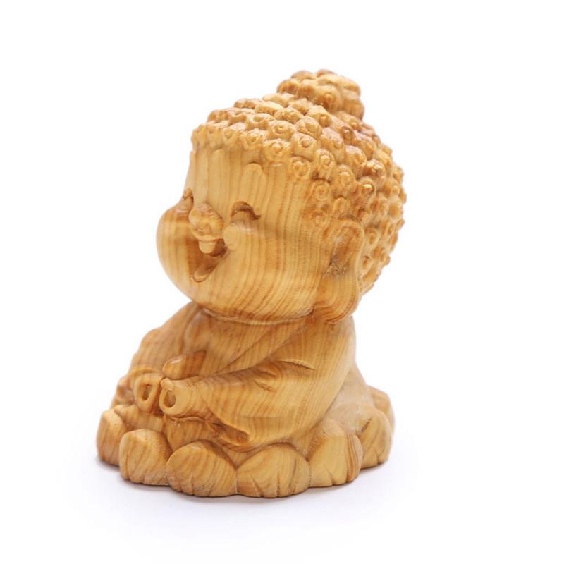 黄杨木雕刻 q版如来 可爱卡通笑佛车载家居 创意摆件木质工艺品