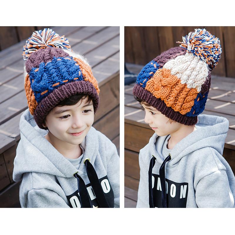 秋冬儿童毛线帽子手工编织男女童宝宝护耳帽韩版保暖针织帽潮4-12岁