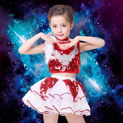 元旦儿童演出服女童舞蹈表演服饰幼儿啦啦操男童亮片爵士舞服装夏 女