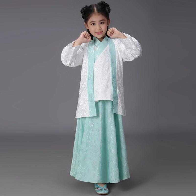 新款古装儿童汉服幼儿国学弟子规女表演服女童三字经书童演出服装