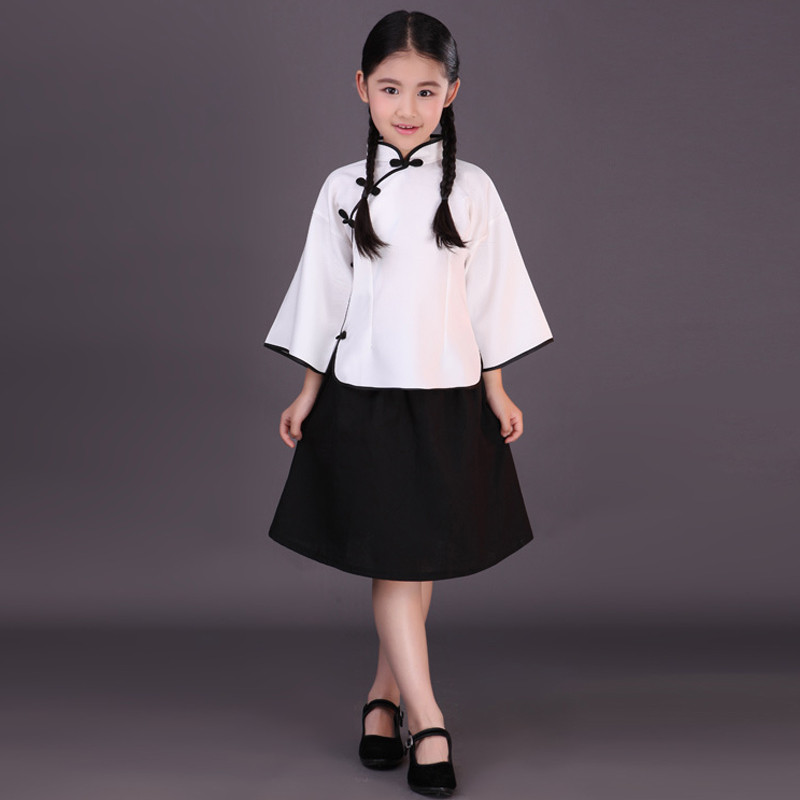 民国风儿童古装服装女童学生装五四青年服装儿童毕业季班服演出服