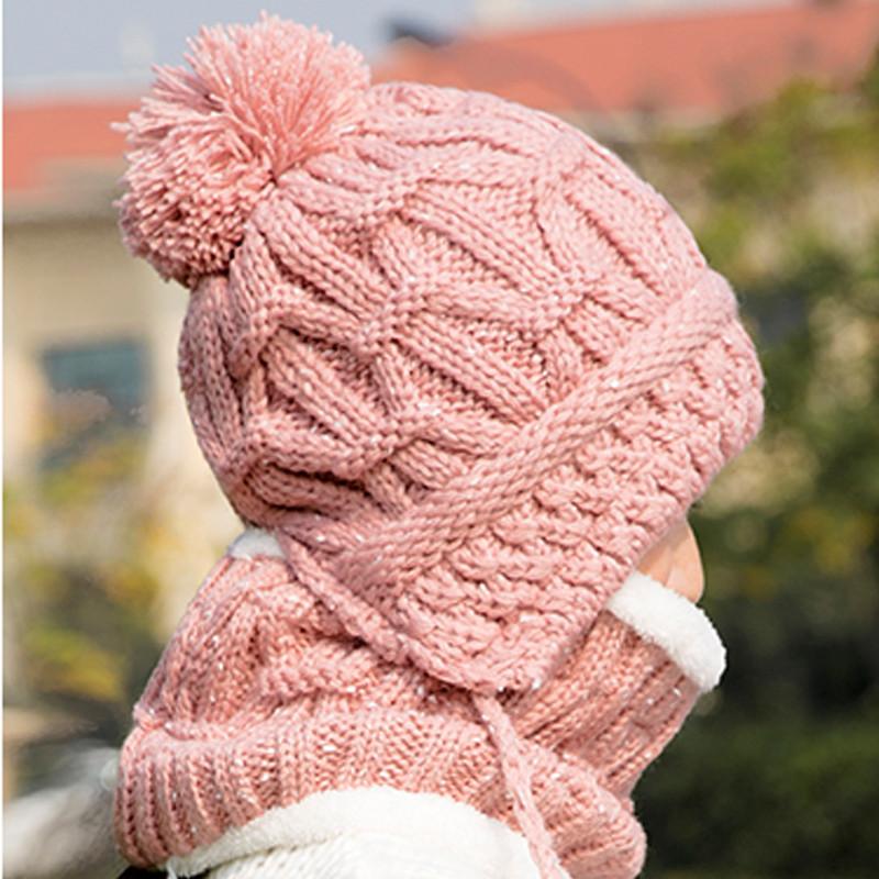 帽子女冬天韩版加厚保暖手工针织毛线帽冬季女士韩国可爱潮护耳帽